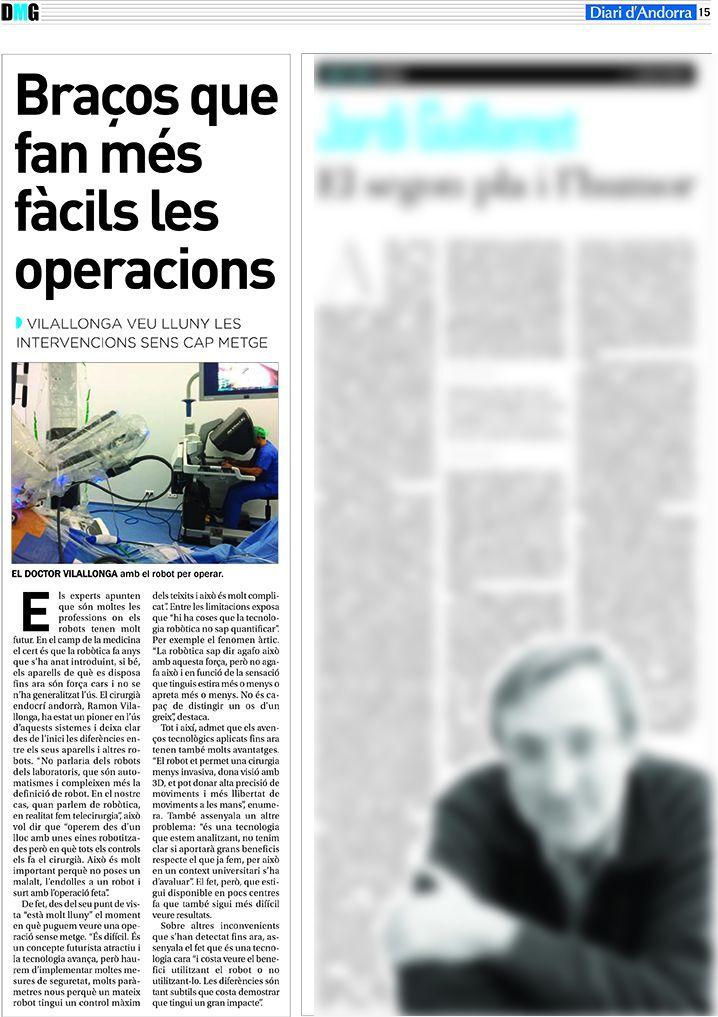Article Diari d'Andorra Dr.Vilallonga amb el robot per operar